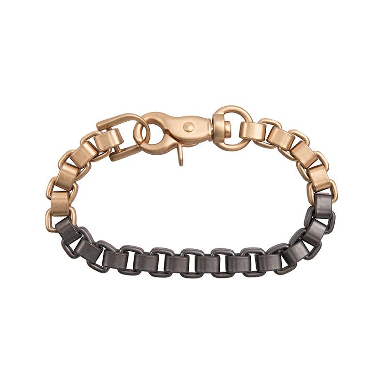 Bracelet Bold Or Thin Chain 2 Tone Matt Gold Gun Metal Black Coloured Loes Vrij